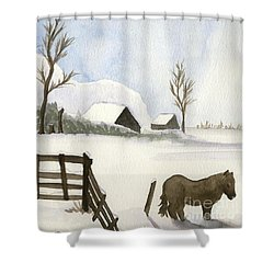 Shower Curtain featuring the painting Pony In The Snow by Annemeet Hasidi- van der Leij