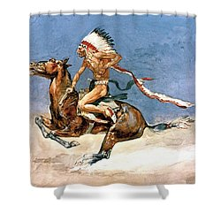 Pony War Dance Shower Curtain by Frederic Remington