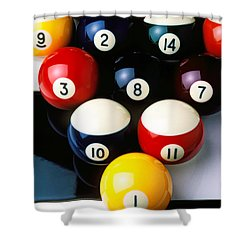 Pool Balls On Tiles Shower Curtain by Garry Gay