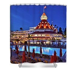 Poolside At The Hotel Del Coronado  Shower Curtain by Sam Antonio Photography