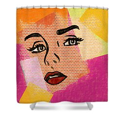 Shower Curtain featuring the mixed media Pop Art Comic Woman by Dan Sproul