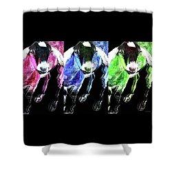 Pop Art Goats Trio - Sharon Cummings Shower Curtain by Sharon Cummings