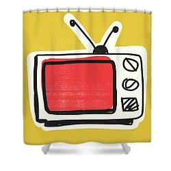 Pop Art Tv- Art By Linda Woods Shower Curtain