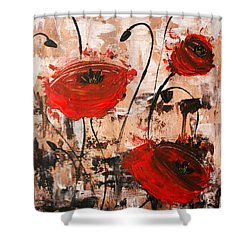 Pop Goes The Poppies Shower Curtain