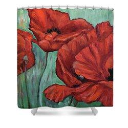Pop Of Red Shower Curtain by Sandra Nardone