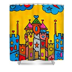 Shower Curtain featuring the digital art Popart Castle By Nico Bielow by Nico Bielow