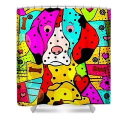 Shower Curtain featuring the digital art Popart Dog By Nico Bielow by Nico Bielow