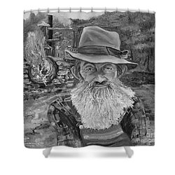 Popcorn Sutton - Black And White - Rocket Fuel Shower Curtain