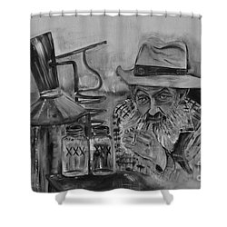 Popcorn Sutton - Black And White - Waiting On Shine Shower Curtain
