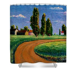 Poplars Shower Curtain by Ushangi Kumelashvili