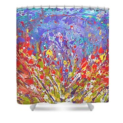 Poppies Abstract Meadow Painting Shower Curtain