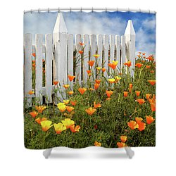 Shower Curtain featuring the photograph Poppies And A White Picket Fence by James Eddy