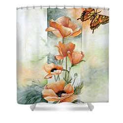 Poppies And Butterfly Shower Curtain by Marti Idlet