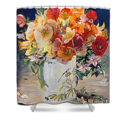 Poppies, Clematis, And Daffodils In Porcelain Vase. Shower Curtain