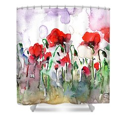 Shower Curtain featuring the painting Poppies by Faruk Koksal