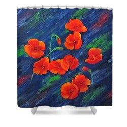Poppies In Abstract Shower Curtain