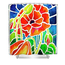 Poppies In Stained Glass Shower Curtain by Janis Grau