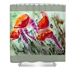 Poppies In The Wind Shower Curtain by Maria Barry