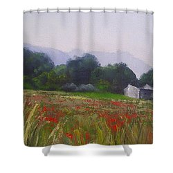 Poppies In Tuscany Shower Curtain by Chris Hobel
