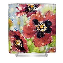 Poppies Shower Curtain by Judith Levins