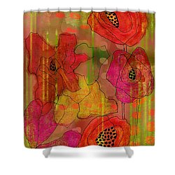 Poppies Shower Curtain by Lisa Noneman
