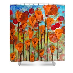 Poppies Make Me Happy Shower Curtain