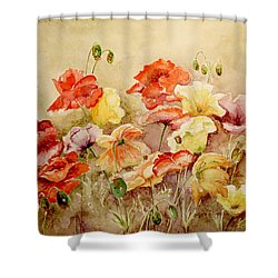 Poppies Shower Curtain by Marilyn Zalatan