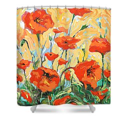 Poppies On A Yellow            Shower Curtain by Dmitry Spiros