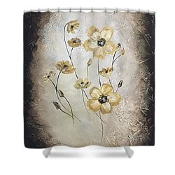 Poppies On Black Shower Curtain