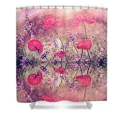 Poppies On Lake Shower Curtain