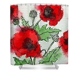 Poppies Popped Shower Curtain