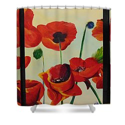 Shower Curtain featuring the painting Poppies by Saundra Johnson