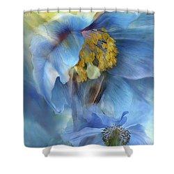Poppies So Blue Shower Curtain by Carol Cavalaris