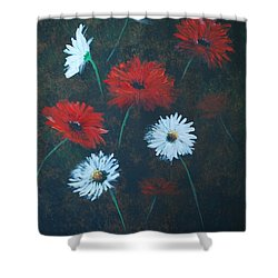 Shower Curtain featuring the painting Poppin Daisies by Leslie Allen