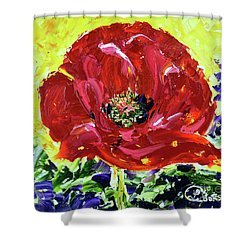 Poppy Amongst Lavender Shower Curtain