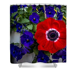 Poppy And Pansies Shower Curtain
