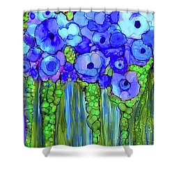 Shower Curtain featuring the mixed media Poppy Bloomies 2 - Blue by Carol Cavalaris
