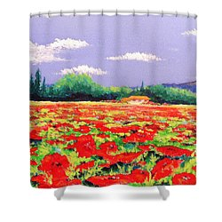 Poppy Field Shower Curtain by Anne Marie Brown
