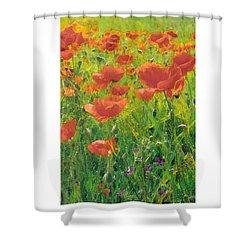 Shower Curtain featuring the digital art Poppy Field by Julian Perry