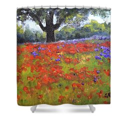 Poppy Field W Tree Shower Curtain