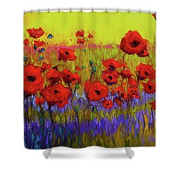 Poppy Flower Field Oil Painting With Palette Knife Shower Curtain