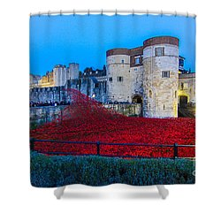Poppy Flowers Tower Of London Shower Curtain