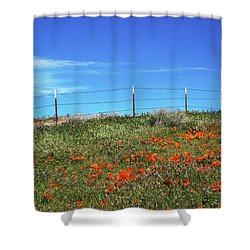 Shower Curtain featuring the mixed media Poppy Hill- Art By Linda Woods by Linda Woods