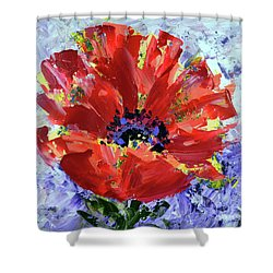 Poppy In Fields Of Lavender Shower Curtain