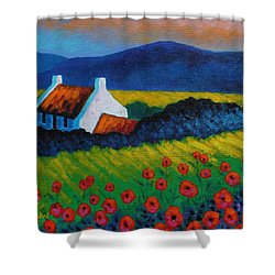 Poppy Meadow Shower Curtain by John  Nolan
