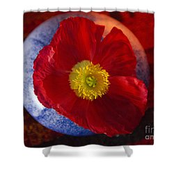 Shower Curtain featuring the photograph Poppy On Orange by Jeanette French