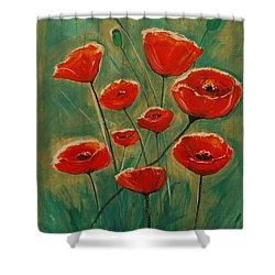 Shower Curtain featuring the painting Poppy Surprise by Leslie Allen