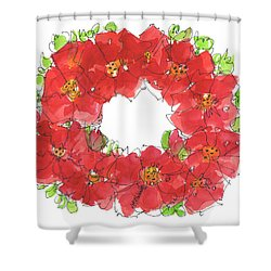 Poppy Wreath Shower Curtain