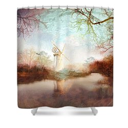 Shower Curtain featuring the painting Porcelain Skies by Valerie Anne Kelly