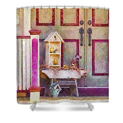 Porch - Cranford Nj - The Birdhouse Collector Shower Curtain by Mike Savad